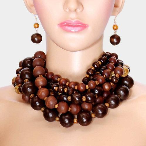 Chunky Multi Strand Wood Necklace
