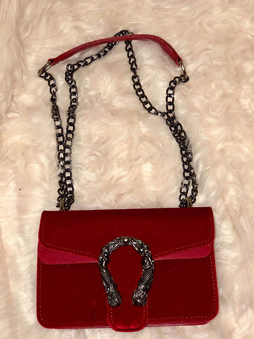 Red Evening handbag with Link chain Straps