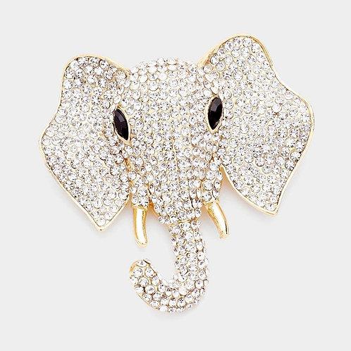 Gold Elephant Pin Brooch