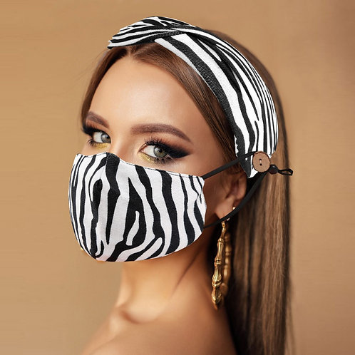 Zebra 🦓 Print Mask & Knot Headband Set