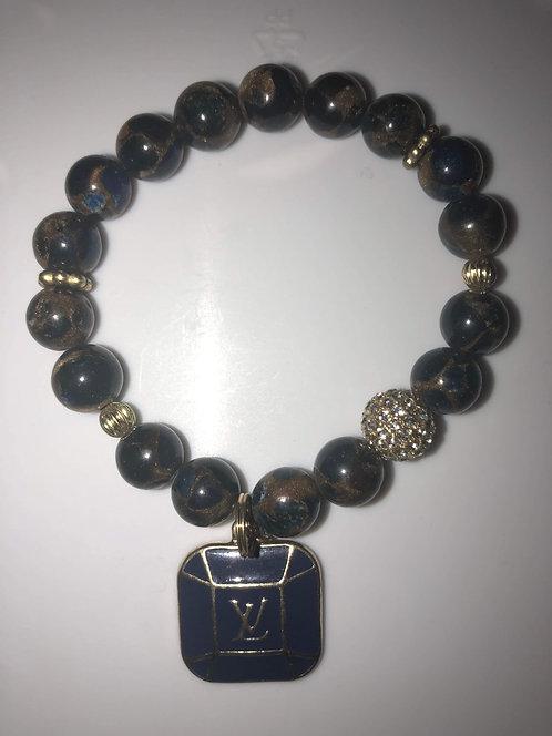 Marble Color Agate Beaded Bracelet