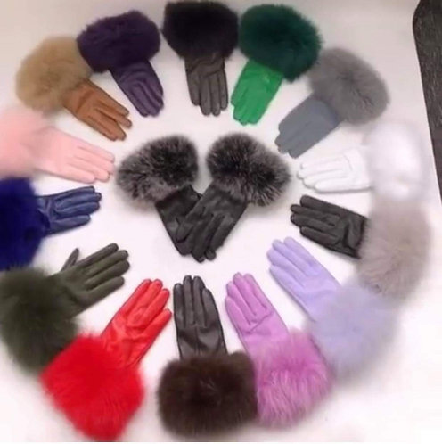 Real Leather Fox Fur Gloves