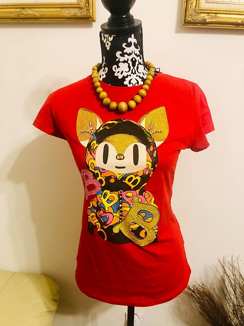 Hand Beaded Bling Bear Fitted Tee