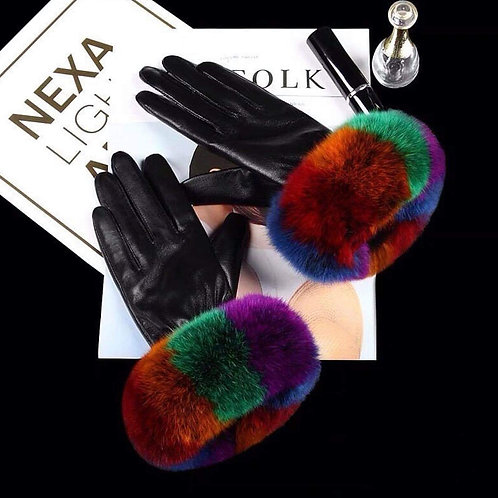 Rainbow Colored Real Leather Gloves