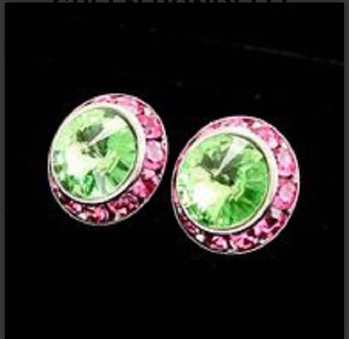 Small Pink and Green Rondelle Crystal Stud Earring