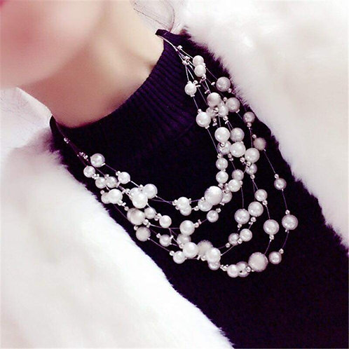 Silver Floating Pearl Statement Necklace