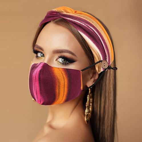 Burgundy Water Colors Mask & Knot Headband Combo