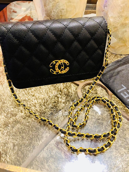 Black Leather Quilted Chain Crossbody
