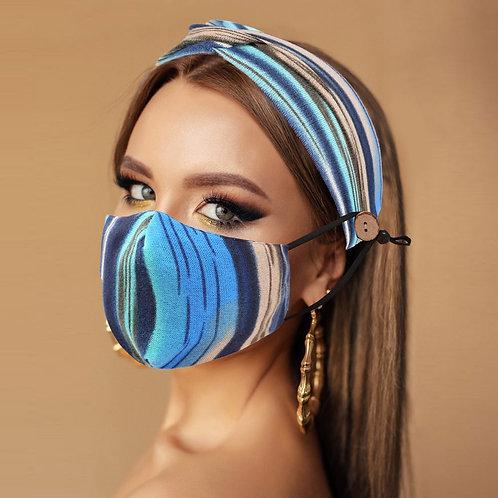 Blue Lagoon Colors Mask & Knot Headband Combo