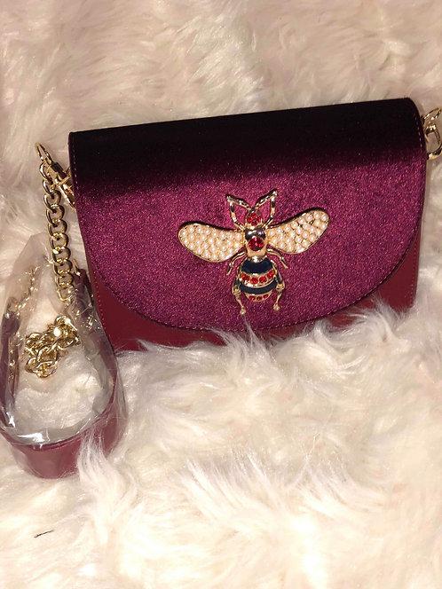 Velour Bee Shoulder Chain Bag