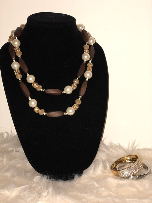 Pearl and detailed wood beaded Long Necklace