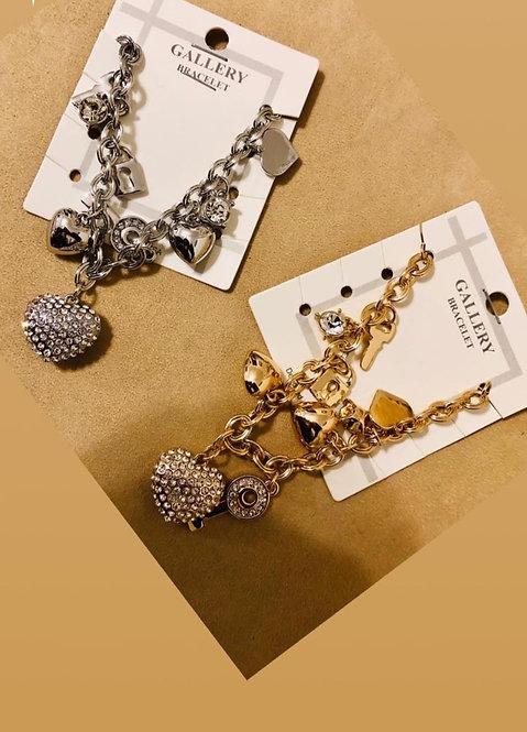 Heart detail charm bracelet