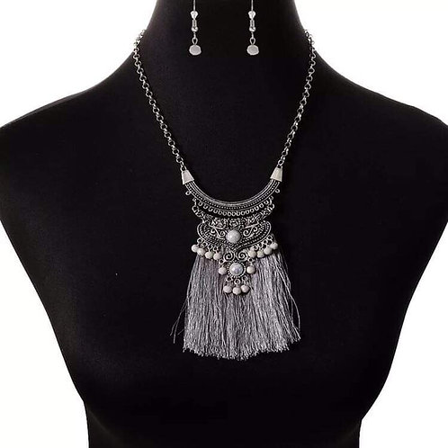 Silver large Tassle with Earrings