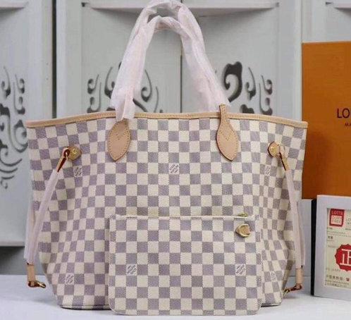 White Checkered Handbag