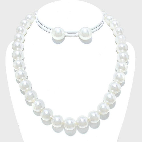 12 MM White Pearl Necklace