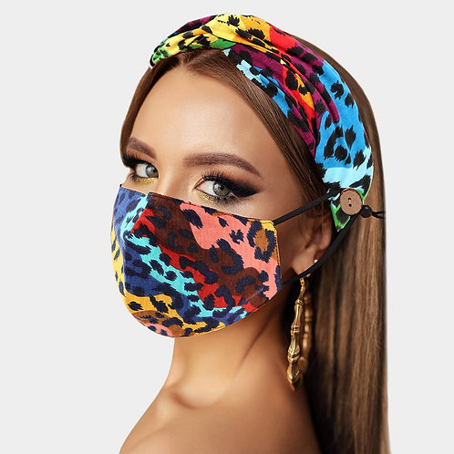 Multi Color Print Face Mask Headband Combo Set