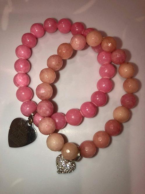 2pc Pink Agate Charm Beaded Bracelets