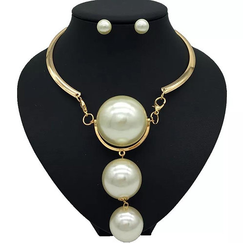 3 tier Pearl Choker style necklace