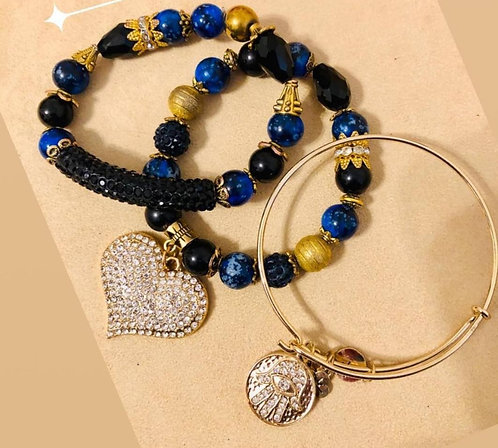 Black and blue charm and cable bracelet set