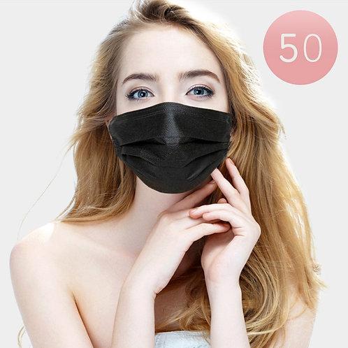 50 Pc Black Design Disposable Mask Non-Surgical