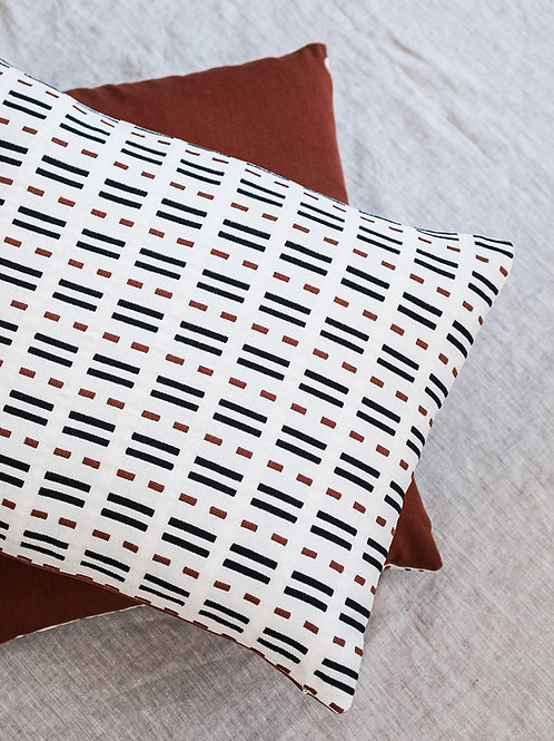 100% cotton bold repetitive stripes Talea Cushion Off White on natural linen