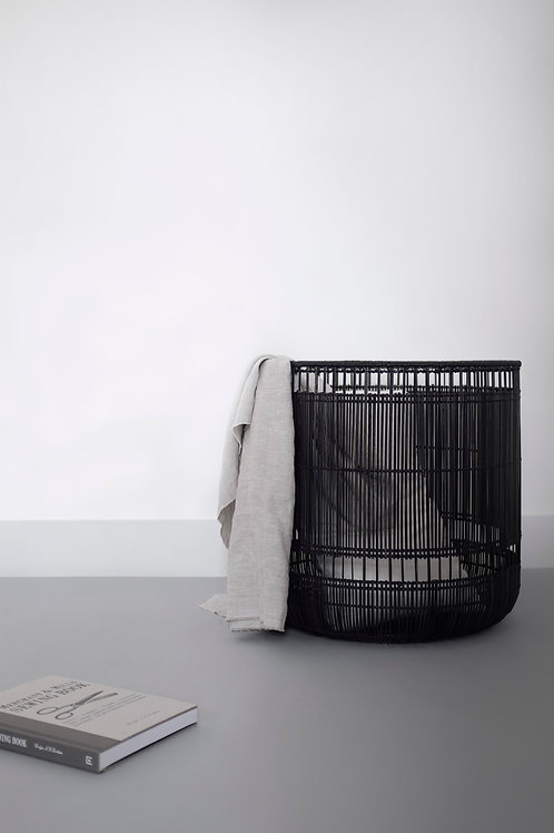 Tangent Basket Black handwoven with locally-sourced Buri Palm