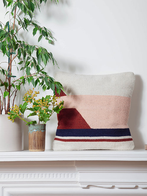 Handmade square Small Convergent Cushion Pink and plant