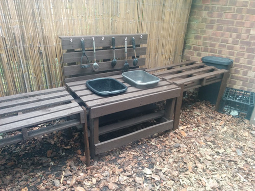 Getting mucky in the newly extended mud kitchen