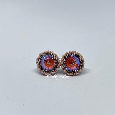 Swarovski beaded stud earrings [Orange Glow]