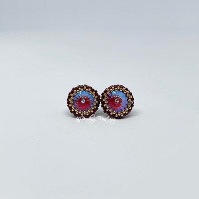 Swarovski beaded stud earrings [Royal Red]