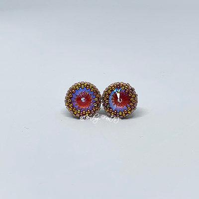 Handmade beaded stud earrings [Lotus Pink]