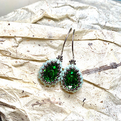Swarovski beaded earrings [Fern Green]