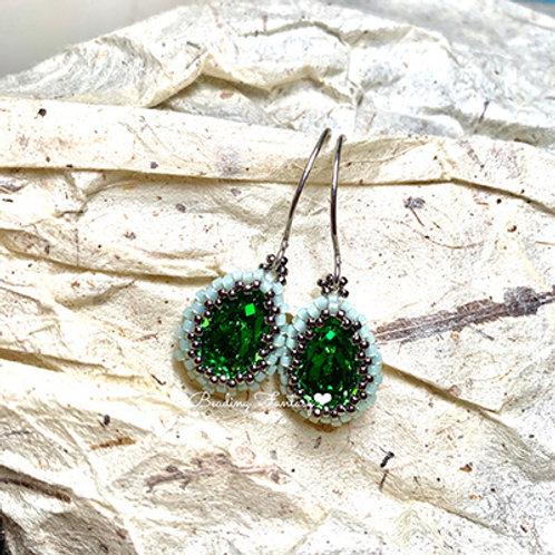 Swarovski beaded earrings [Fern Green]