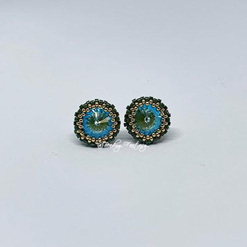 Swarovski beaded stud earrings [Silky Sage]