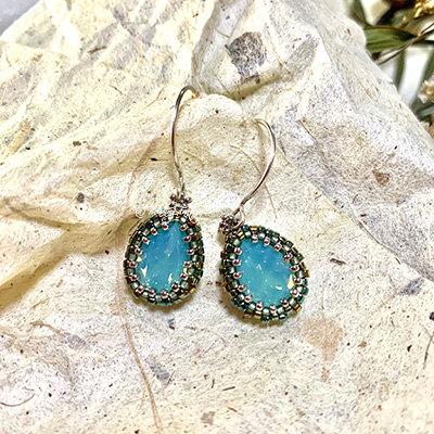 Swarovski beaded earrings [Pacific Opal]