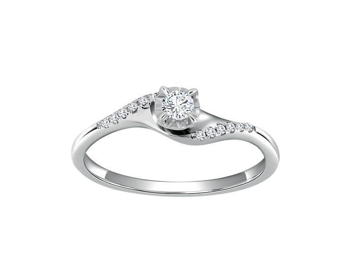 .07 Bypass Engagement Ring with Bead Setting .004 CT TW