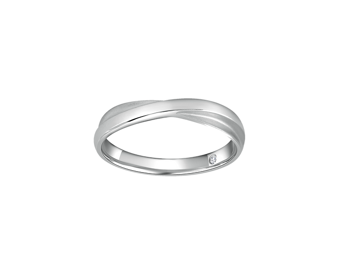 Polished Gold Infinity Band with Matte Highlights Interior Diamond - Men
