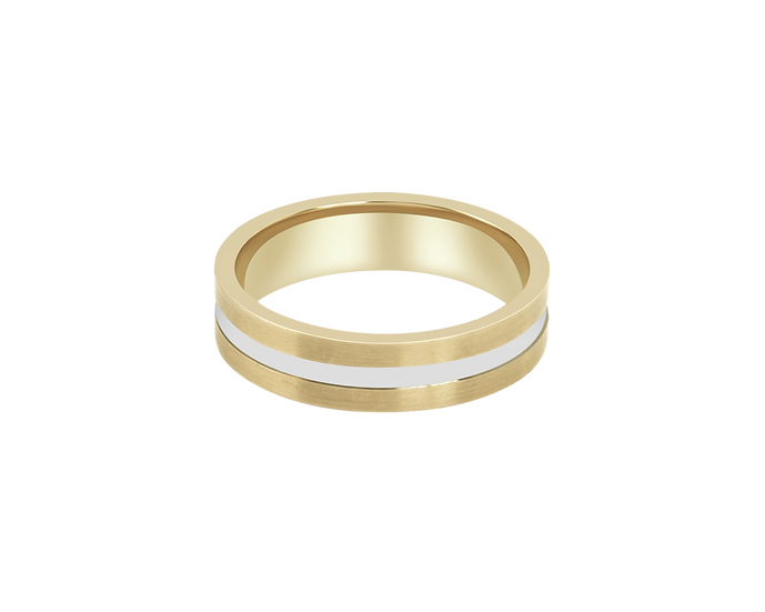 Two-Tone Matte Gold Band with Polished Central Highlight - Men