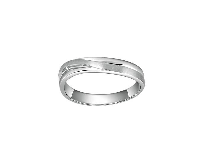 Arched Gold Infinity Band with Interior Diamond - Men