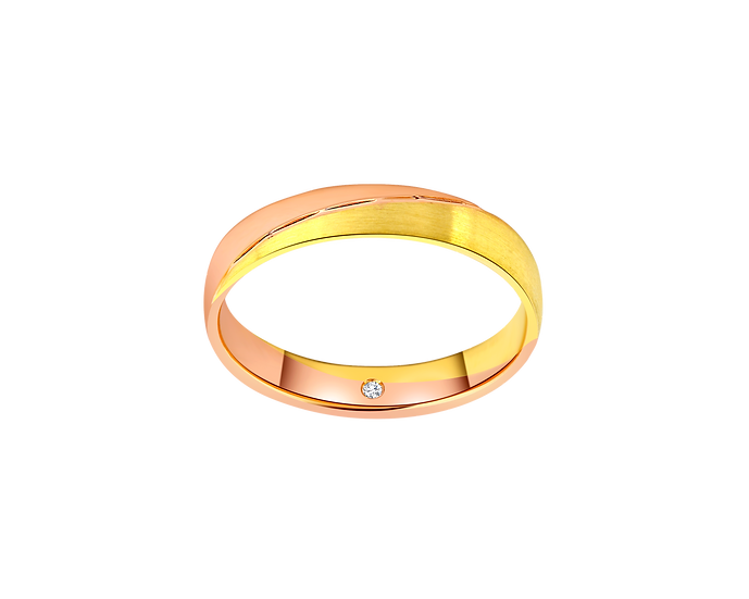 Two-Tone Streaked Gold Band with Interior Diamond