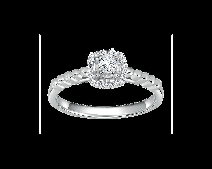 .08 CT Princess Cushion Halo Engagement Ring