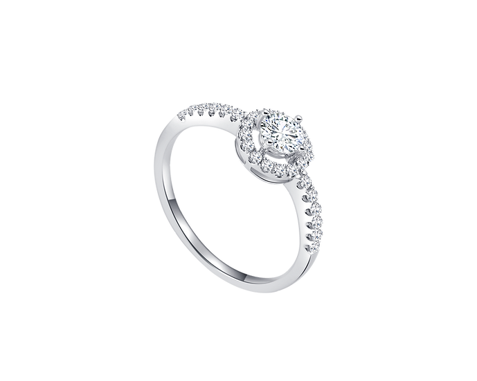 .23 CT Halo Engagement Ring with Bead Setting .23 CT TW