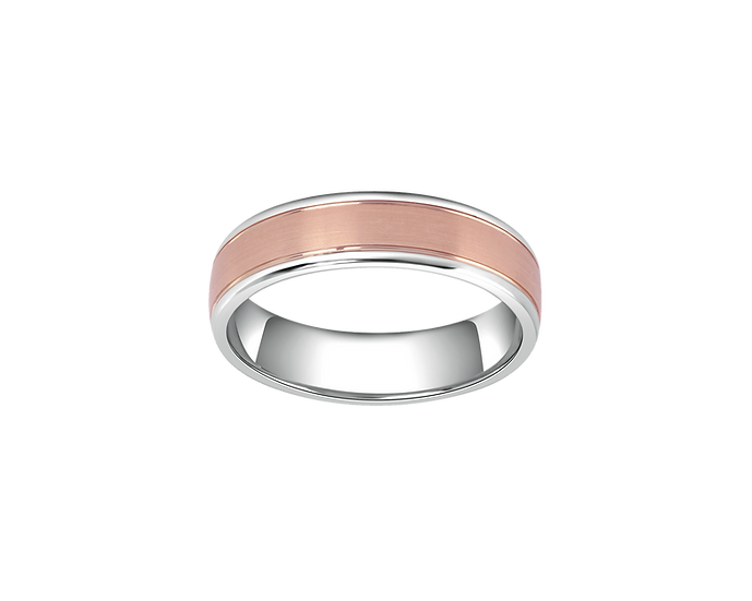 Two-Tone Gold Matte Band with Polished Lining - Men