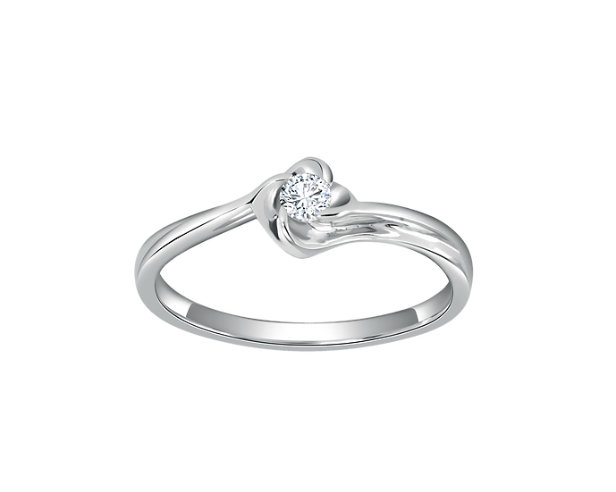 .08 CT Four Petal Flower Solitaire Bypass Engagement Ring