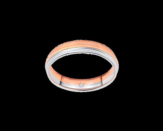 Sleek Two-Tone Gold Band with Interior Diamond