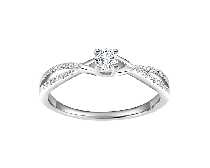 .15 CT Infinity Engagement Ring with Bead Setting .08 CT TW