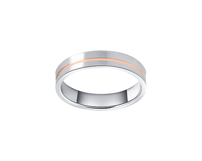 Two Tone Gold Matte Band with Polished Highlight - Men