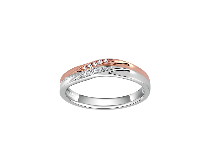 Polished Arched Two-Tone Gold Band with Diamond Embellishment - Women