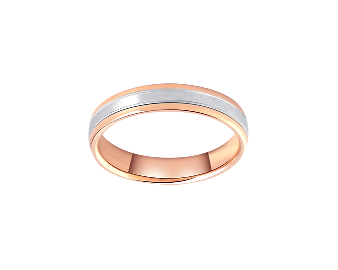 Two Tone Gold Band with Matte Central Highlight - Men