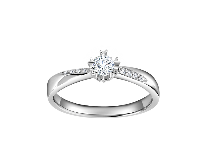 .14 CT Tapered Catherdral Engagement Ring with Channel Setting .014 CT TW